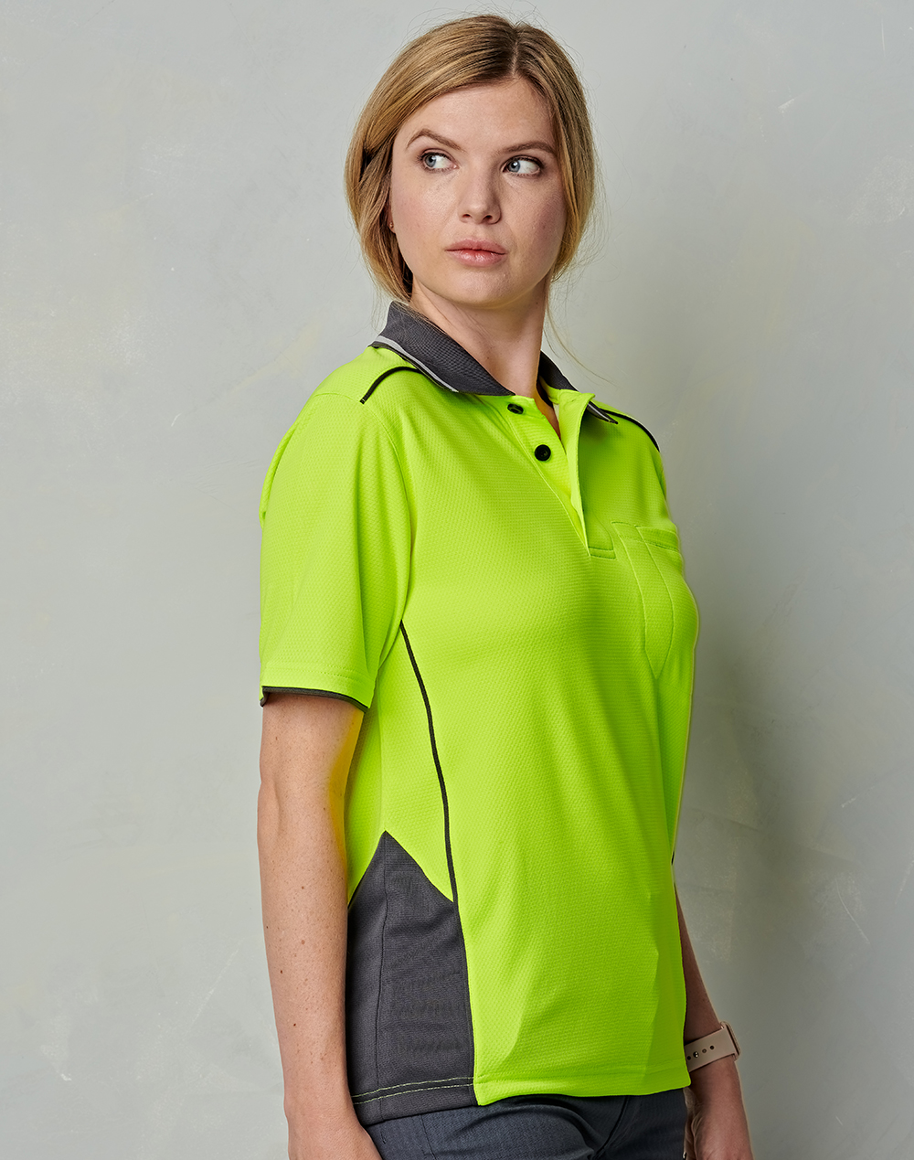 SW79 UNISEX HI-VIS BAMBOO CHARCOAL VENTED SS POLO